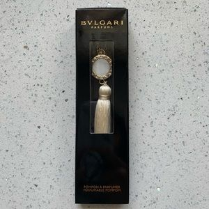 NWT BVLGARI Tassel Bag Charm Keychain White/Silver